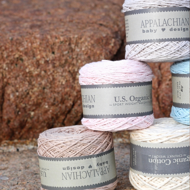 Appalachian Baby Organic Cotton on beach steps by Fig Tree Yarns
